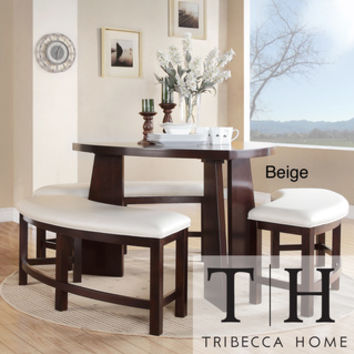 TRIBECCA HOME Paradise Merlot Triangle Shaped 4-piece Dining Set | Overstock.com