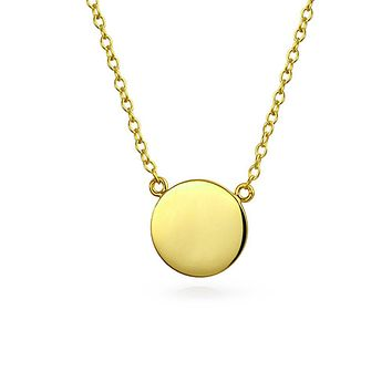 Round Circle Disc Pendant Necklace 14K Gold Plated Sterling Silver