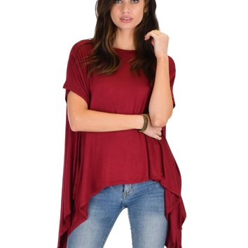 Lyss Loo Somedays Lovin' Comfort Over-sized Draped Burgundy Tunic Top