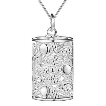 ON SALE - Ornamental Puffed Cylinder Sterling Silver Necklace