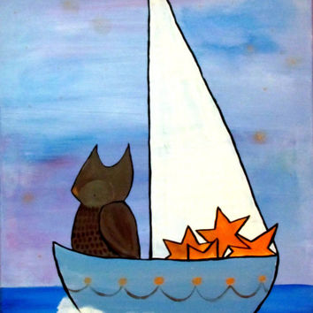 Owl in Star Sailboat Original Nursery Art Painting Woodland Childrens Decor Artwork for Kids