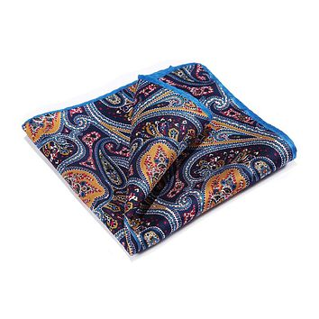 Orange Navy Blue 100% Natural Silk Pocket Square