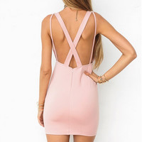 Pink Cross Strap Back V Neck Dress 11995