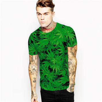 2016 Summer Green Leaves Weed T-Shirt Design Harajuku Men's 3D Trainning T Shirts Cool Blouses Round Neck Tee Tops Male FTNA