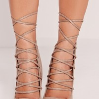 Missguided - High Back Lace Up Court Shoe Nude
