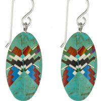 Micro Inlay Navajo Indian Sterling Silver Earrings (Oval)