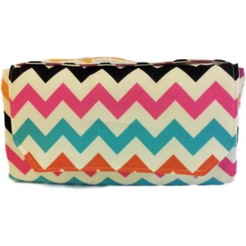 Colorful Chevron Travel Baby Changing Mat / Diaper Clutch-Wipe Clean
