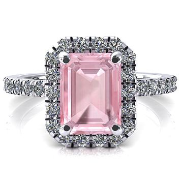 Talia Emerald Pink Sapphire 4 Prong Halo 3/4 Micropave Engagement Ring
