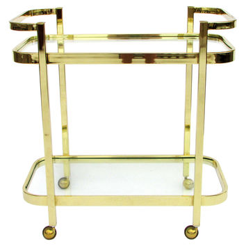 Double-Handled Brass Bar Cart