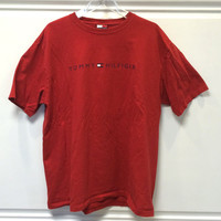 Vintage Tommy Hilfiger / Crew Neck T-Shirt / Red / Large