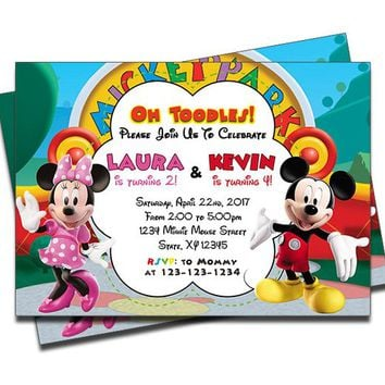 PRINTED Mickey Mouse and Minnie Mouse Clubhouse Double Joint Twins Siblings Personalized Birthday Invitation - Set of 20 Invites