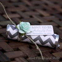 200 Mint Wedding Favors with Personalized tag reading MINT TO BE - set of 200 favors, chevron, grey, mint wedding favours,