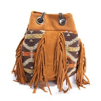 CrazyPomelo Women's Vintage Tribal Pattern Owl Shape Chain Suede Satchel Shoulder Bag With Tassels