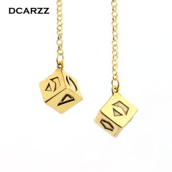 Star Wars Force Episode 1 2 3 4 5 Newest Big Antique Gold Color Han Solo Lucky Dice Prop,1.25 cm Dice with Link Chain Bracelet  Car Mirror Ornaments AT_72_6