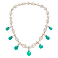 T.B. STARR Antique Emerald and Diamond Necklace | 1stdibs.com