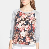 Petite Women's Search for Sanity Floral Print Raglan Sweatshirt