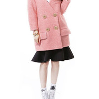 Pink Double Breasted Wool Coat