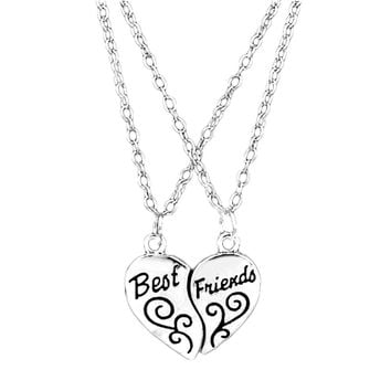 Hot Selling Two Pieces Combination Alloy Necklace Heart Shape Pendent Carved Best Friends Girlfriends Gift