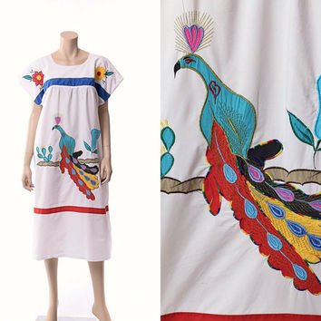 Vintage 70s Mexican Peacock Dress 1970s White Cotton Applique Embellished Bird Floral Cactus Boho Ethnic Caftan Patio Dress