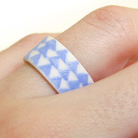 Porcelain Jewelry  Blue Triangles Wide Band by clacontemporary