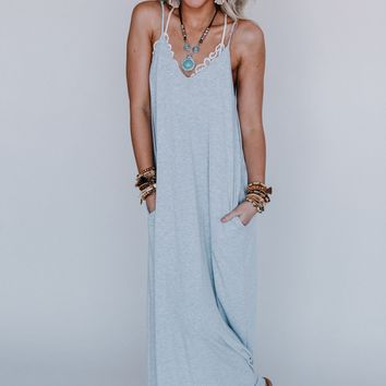 Desert Oasis OOTW Maxi Dress with Necklace Set - Heather Gray