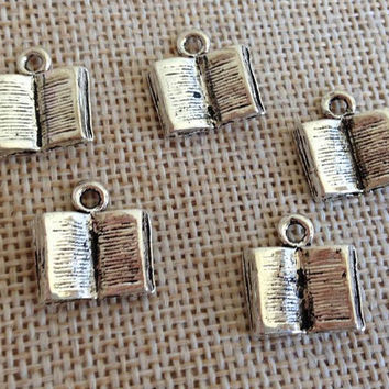 6 Pieces Alex and Ani Inspired Pewter 3D Book Charm Pendant Jewelry Craft DIY