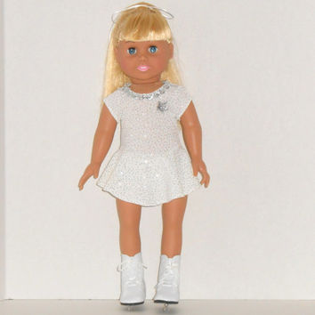 American Girl Doll Clothes Ivory Ice Skating Dress or Dance Outfit fits 18 inch Dolls