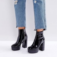 Monki Patent Heeled Ankle Boot at asos.com