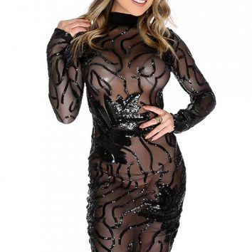 Sexy Black Leaf Sequins Sheer Long Sleeve Mock Neck Party Dress