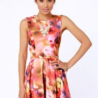 Deep Bloom Sea Floral Print Backless Dress
