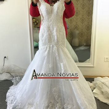 Robe De Mariee 2017 Newest V-Neck Mermaid Wedding Dresses Cap Sleeve Bridal Gowns Lace Wedding Dress With Appliques