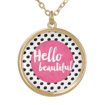 Hello Beautiful - pink and dots Round Pendant Necklace