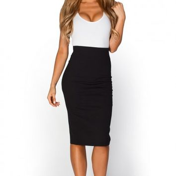 Ruby Black High Waist Midi Pencil Skirt