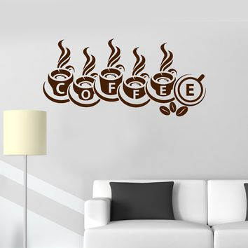 Vinyl Wall Decal Coffee House Shop Cups Kitchen Decoration Stickers Unique Gift (ig3461)