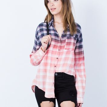 Ombre Button Up Blouse