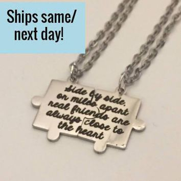 Puzzle Piece Necklace, Best Friend Necklace, Best Friend Gift, Puzzle Piece Charm, Puzzle Necklace, Engraved Puzzle, Engraved Necklace