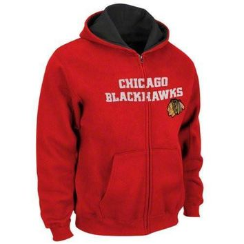 Youth Chicago Blackhawks Reebok Sportsman Full-Zip Hoodie-Red