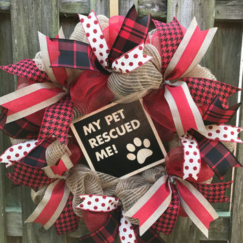 Dog Rescue Wreath, Dog Wreath, Rescue Dog Wreath, Deco Mesh Wreath, Spring Wreath, Soring Mesh Wreath, Who Rescued Who, Everyday Wreath