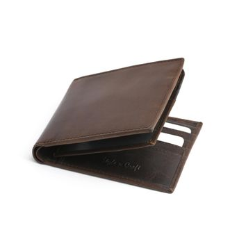 391004 Brown Bifold PassCase Leather Wallet with Flap | Style n Craft