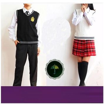 British korean japanese school uniform men and women clothing for school uniforme escolar costume Sweater vest 5 sets