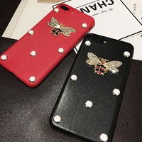 Gucci  Pearl bee phone case shell  for iphone 6/6s,iphone 6p/ 6splus,iphone 7, iphone7plus