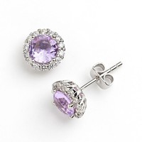 Silver Plate Cubic Zirconia & Purple Glass Halo Stud Earrings