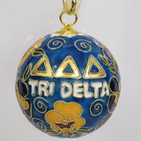 Tri Delta Blue Original Cloisonne Ornament with 24k gold plating