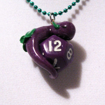 Purple and Green Sleeping Baby Dice Dragon Necklace