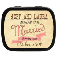 Rustic Personalized Save the Date Mint Tins for Engagements, Weddings, Party Favors, Candy Favors