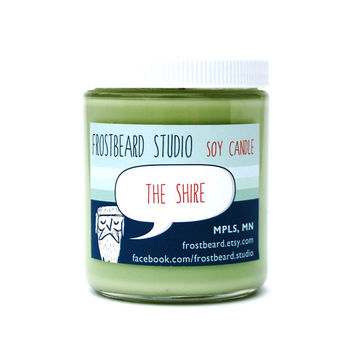 The Shire -- Book Lovers' Scented Soy Candle           -- The Hobbit -- Lord of the Rings -- 8oz jar