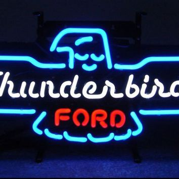 "Ford Thunderbird Glass Tube neon light sign Pub Handcrafted Automotive signs Shop Store man cave bar gas oil 17""x14"""