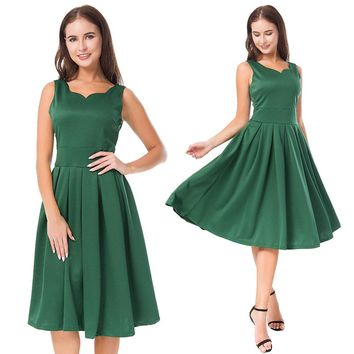 Pleated Sleeveless V-neck A-line Knee-length Party Dress