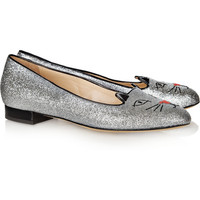 Charlotte Olympia | Glitter Kitty embroidered glitter-finished slippers | NET-A-PORTER.COM