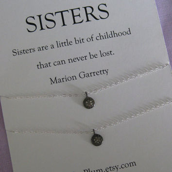 SISTERS Necklace // Sisters Jewelry // Two sisters Necklace // Delicate sterling silver // Diamond.  Matching sisters